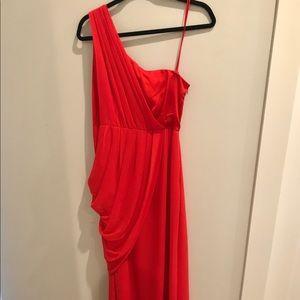 Floor length one shoulder red evening gown - 8